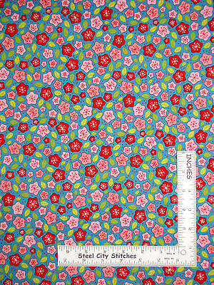 Lovebirds Fabric RJR Cotton YARD Red Green Blue /& Pink Argyle Print