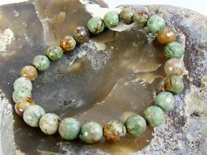 Natural-Gemstone-Men-039-s-Women-039-s-Elasticated-bracelet-8mm-GREEN-OPAL-beads