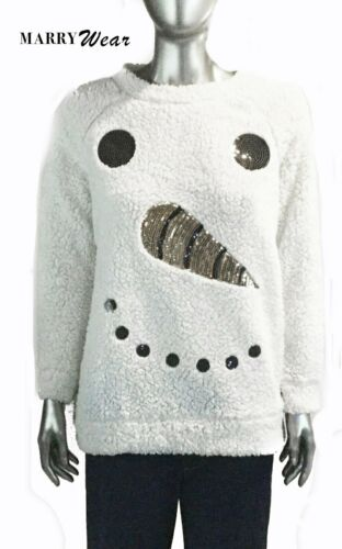 Merry Wear, Off White Sequin, Snowman Face, S,  Sw