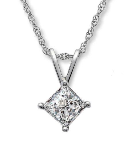 0.07 ct, jkcolor, I2I3 clarté Princesse Solitaire Diamant Pendentif PROMO blanc or