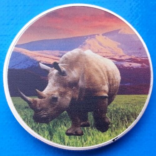 Zambia African Rhinoceros Rhino 2015 UNC Africa Wildlife Color Coin