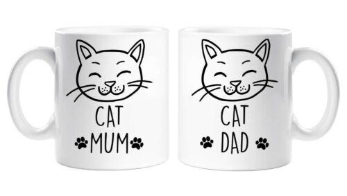 Set 2 Mugs Cat Mum Dad Present Pet Present 11oz White