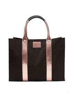 9f83339413d8 VICTORIA S SECRET BLACK   ROSE GOLD TOTE STANDING TRAVEL BAG ...