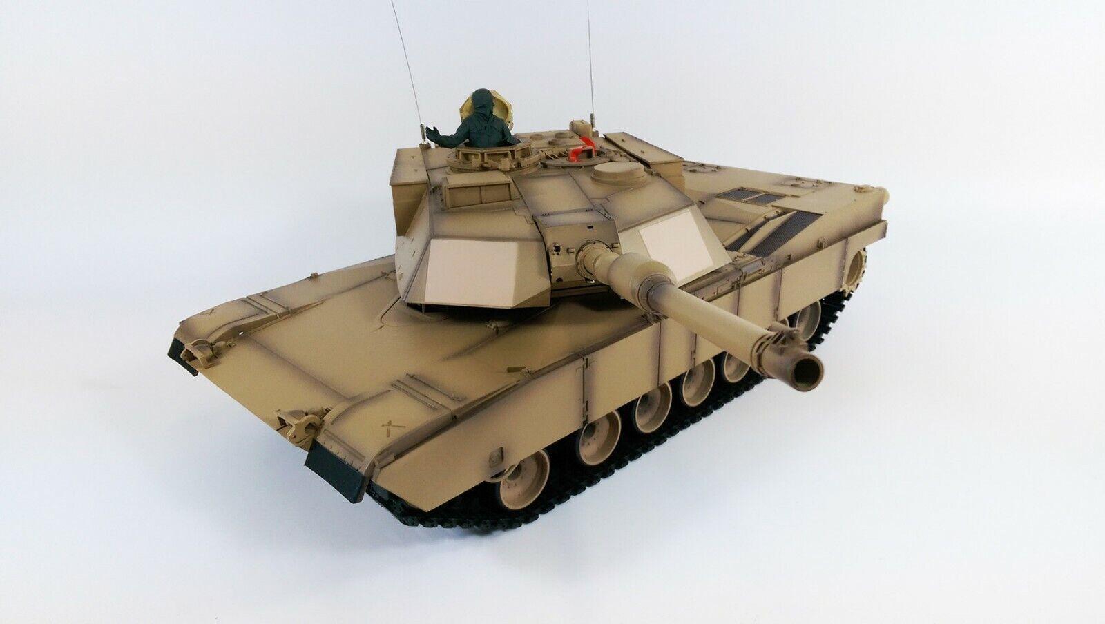 2.4G Telecouomodo Radio M1A2 Abrams BATTAGLIA autoRO ARMATO RC  1 16 BB TIRO fumo UK  la migliore moda