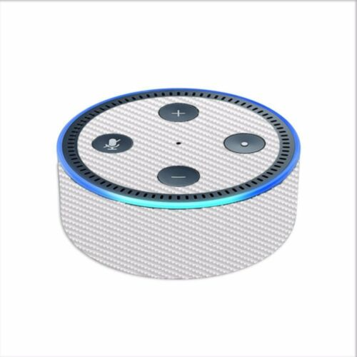 // White Carbon Fiber graphite 2nd generation Skin Decal for Amazon Echo Dot 2