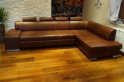 Echtleder Ecksofa 300x185cm Echt Leder Sofa Couch mit ...