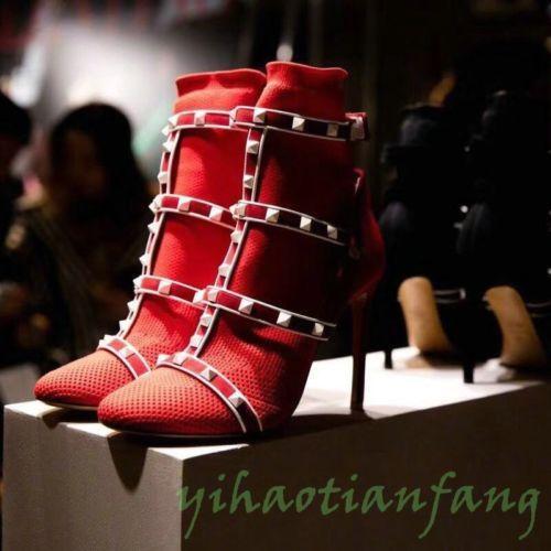 2019 Womens Lady Stylish Occident Stilettos Knit Elastic  boots Rivet Punk Chic