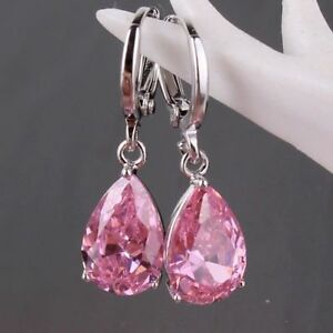 925 Silver Pink Sapphire Waterdrop Hoop Dangle Earrings ...