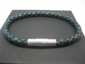 Sterling Silver 925 Tube Decor W 5mm Braided Italian Leather