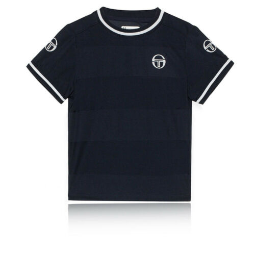 Sergio Tacchini Ragazzo Retro T-Shirt Maglietta Maglia Blu Marino Sport Tennis