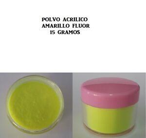 Polvo acrílico amarillo flúor 15g manicura uñas acrílicas-postizas-tips nails