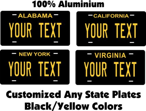 Any State Any Text Black Yellow Personalized Auto Bike Motorcycle License plates