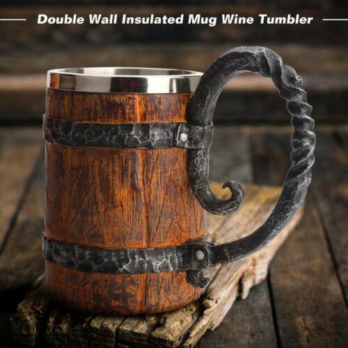 Retro Steel Mug Resin Coffee Beer Viking Skull Wooden Barrel Drinking Cup