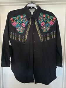 Vintage 90s Blouse Size Large Black Beaded Embroidered Floral Button Down Cotton