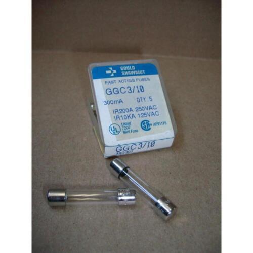 GOULD SHAWMUT GGC3//10//82451* 3//10 AMP FAST ACTING GLASS FUSE 97254