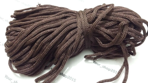 2 Metres Nylon Braided Cord Thread Twine 6mm MANY COLOURS Detachable cap ends