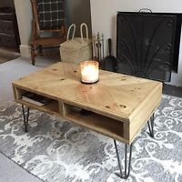 Reclaimed Pallet Wood Industrial Coffee Table 90cm x 50cm Retro Hairpin Legs