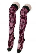 Ladies Funky Fashion Zebra Pink Sexy Ladies Teens Over The Knee Socks Stocking