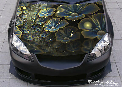 Abstract Flowers Full Color Graphic Adhesive Vinyl Sticker Fit Car Bonnet #024