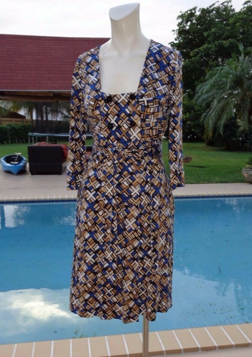 DIANE VON FURSTENBERG Dutch Silk Jersey Wrap 3 4 SLEEVE CASUAL WRAP DRESS Sz 8
