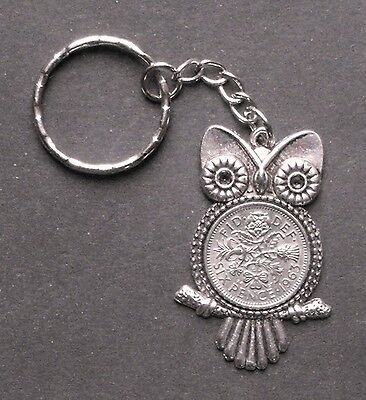 55th Birthday Gift 1963 Lucky Silver Sixpence Coin Key Ring Charm