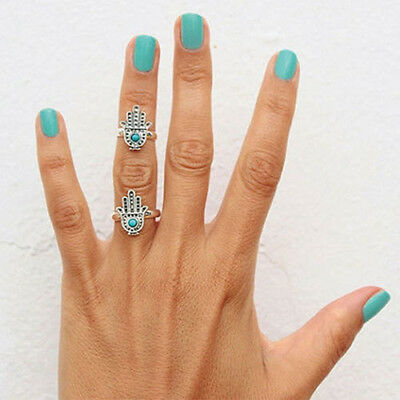 Fashion Silver Hand Of Fatima Lucky Hamsa Hand Ring Evil Eye Ring For Protection