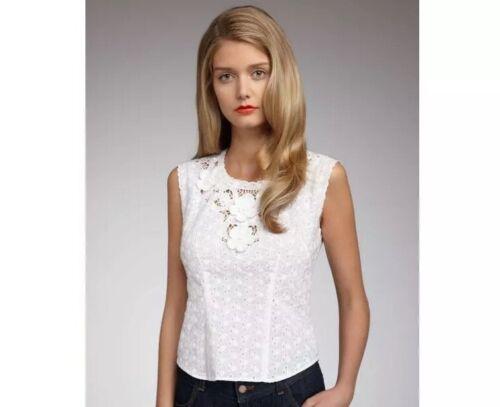Nanette Lepore Cholula Top 10 White Lace Eyelet Bl