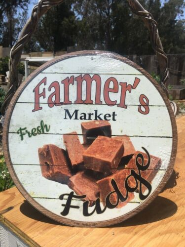 Farmers Market Fresh Fudge Round Sign Tin Vintage Garage Bar Decor Old Rustic