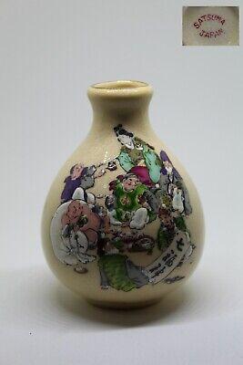 Jarron De Porcelana En Miniatura Satsuma Japan Años 60-70, Bonito Craquelado. Garantire Un Aspetto Simile Al Nuovo In Modo Indefinibile