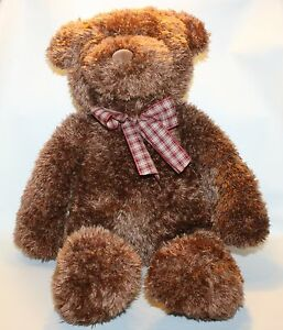 "Big Brown Adorable Plush Bear Stuffed Animal Target Gund Nursery Decor 18"" sit"