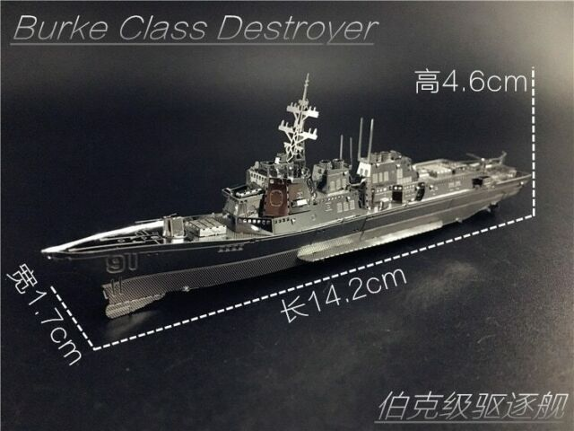 2pcs 3D Metal Puzzle Burke Class Destroyer Type Corvette Warship Model Jigsaw
