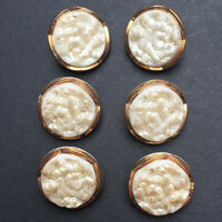 6 Gorgeous Vintage White + Gold Deco 1.8cm Glass Flower Buttons