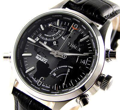 New Timex intelligent quartz world traveler men's watch world time zones leather