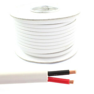 White Flat Twin 2 Core Cable 12v 24v Thin Wall Wire (16.5 AMP & 25 ...