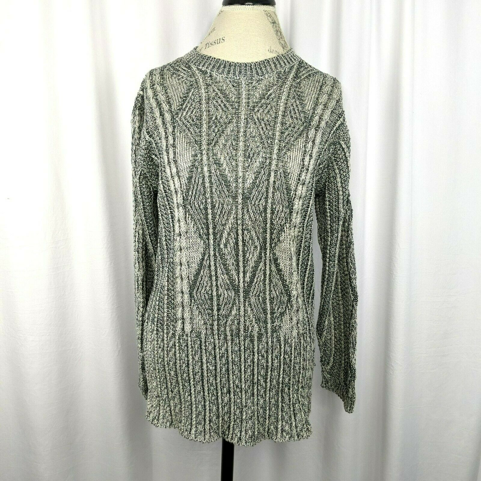 Inis Meain Gray Cream Linen Cable Knit Sweater Sz… - image 1