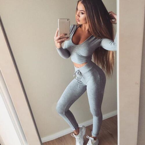 2PCS Fashion Yoga Set Women/'s Stretch Sports Bra Legging Pants Gym Fitness Cloth