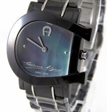 Aigner Genua Due A31644 Damen Uhr Armbanduhr schwarz Keramik silber UVP*759,00 €