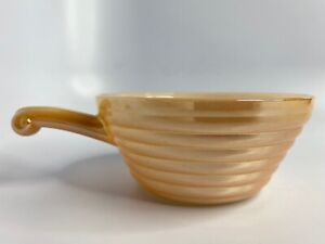 Vintage-Fire-King-Oven-Ware-Beehive-Bowl-with-Handle-Made-in-USA-Peach-Luster