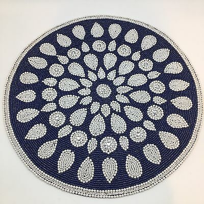 """Kim Seybert Blue White Medallion Beaded Placemat 15"""" Centerpiece Designer NEW"""