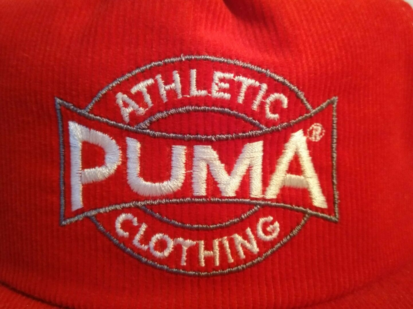 Vintage Puma Hat- Red Made Corduroy Athletic Original Snapback- Made Red in the USA cb9fc8