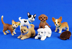Cake-Topper-Lovely-Dog-Doggie-Puppy-Cat-Kitten-Statue-Decoration-Set-of-6-A378