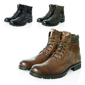 Jack-amp-Jones-Herren-Schnuerboots-Stiefeletten-Echtleder-Herrenschuhe-Schuhe
