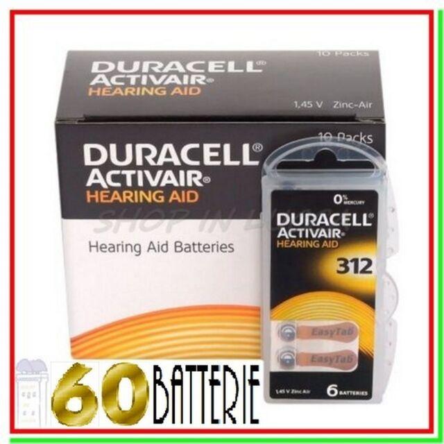 60 DURACELL 312 PR41 Batterie ACTIVAIR Protesi Pile per Apparecchi Acustici