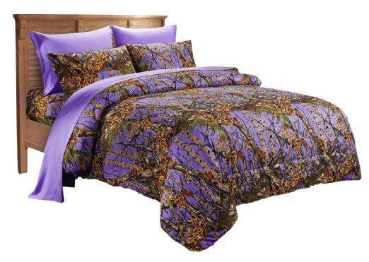 Purple Camo Comforter Set: 1 PC PURPLE QUEEN SIZE MICROFIBER COMFORTER DARK