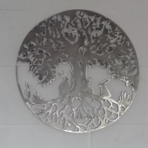 Tree Of Life Hares Design Solid Steel Metal hand finished raw mild wall art gift