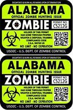 Prosticker 1211 Two 3 X 4 Alabama Zombie Hunting License Decals Stickers
