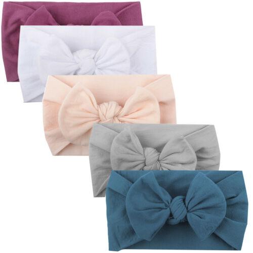 5PCS Girls Baby Toddler Turban Solid Headband Hair Band Bow Accessories Headwear