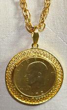 VTG Gold Plated Eisenhower 1972 One Dollar Coin Pendant Necklace