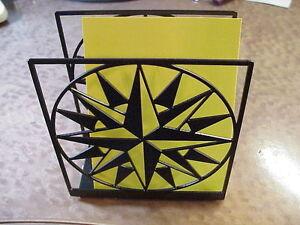 Black-Mariner-039-s-Compass-Barn-Quilt-Block-Pattern-Napkin-Holder-11