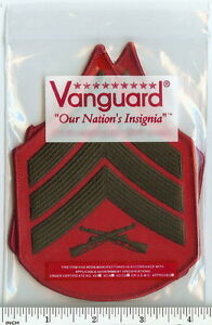 USMC Marines Sergeant ! Sgt E5 Chevrons PATCH pair! green/red for ...